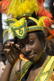 Carribean beauty girl at the Notting Hill Carnival. London UK - Caribbean beautiful girl at the annual Notting Hill Carnival after parade Stock Image