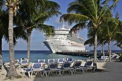 Carribean cruise ship. Cruise ship docked by Carribean island Grand Turk Stock Photos