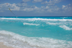 Carribean sea, Mexico. The beach by the Carribean sea in Cancun Mexico Royalty Free Stock Photo