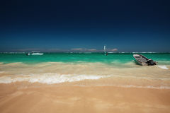 Carribean sea and speed boat for trip adventure on the beach Royalty Free Stock Photo