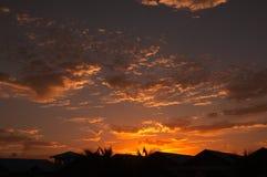Carribean sunset. Sun setting over tropical skyline of the carribean royalty free stock photography