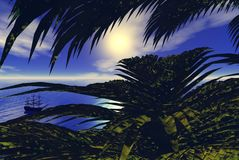 Carribean View. View through palm trees on a tropical islands into a bay where a sailing ship is anchored. Digital render vector illustration