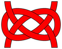 Carrick bend (Josephine) knot isolated Royalty Free Stock Images
