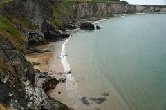 Carrick a Rede Island. Carrick-a-Rede is an island in Northern Ireland off the coast of County Antrim between Ballycastle and Ballintoy. The island is connected stock photo