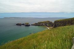 Carrick a Rede Island. Carrick-a-Rede is an island in Northern Ireland off the coast of County Antrim between Ballycastle and Ballintoy. The island is connected royalty free stock photos