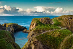 Carrick-a-rede rope bridge. Famous place in Northern Ireland stock photos