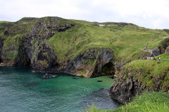 Carrick-a-rede rope bridge national park, antrim coast, northern Royalty Free Stock Photos