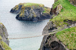 The Carrick-A-Rede Ropebridge. A shot of one of Northern Irelands most popular tourist attractions, the Carrick-A-Rede ropebridge in County Antrim stock photo
