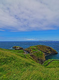 Carrick-a-Rede tiny Irish Coastal Island with suspension bridge and walking path Stock Photo