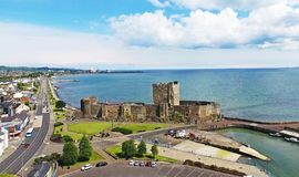Carrickfergus Castle County Antrim Northern Ireland. By Ballygally View Images blue sky Atlantic ocean irish sea. the castle is only 40 miles from the world stock images