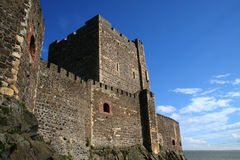 Carrickfergus Castle Outside. The outside of Carrickfergus castle in Northern Ireland looking east Stock Image