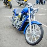 Carrickfergus, County Antrim/UK – April 17 2011: An illustrative editorial image depicting a blue custom built motorcycle. An illustrative editorial image royalty free stock image