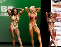 Polished Physique Posers. Carrie Simmons, Joele Smith, and Jennifer Smythe put their best bulging thighs forward as they compare posing forms at the May 19, 2012 Royalty Free Stock Photography
