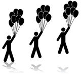 Carried away. Icon illustration showing a man holding several balloons being carried away by them Royalty Free Stock Images