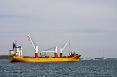 Carrier boat in the bay of Setubal in Portugal Royalty Free Stock Photo