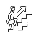 Carrier Growth - vector modern line design illustrative icon. A person holding a case and going up the ladder with arrow pointing upwards Stock Photography