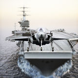 Carrier jet takeoff . Advanced aircraft jet taking off from a navy aircraft carrier. 3d rendering Stock Photography