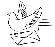 Carrier-pigeon with letter. Carrier-pigeon gives an envelope with a letter to the addressee Vector Illustration
