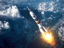 Carrier Rocket Launch In The Clouds Royalty Free Stock Photo
