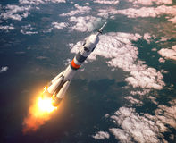 Carrier Rocket Launch In The Pink Clouds Stock Image
