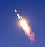 Carrier rocket Soyuz-Fregat Take Off. 3D Scene vector illustration