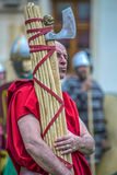 Carrier of Roman antic symbols in one demonstration Stock Images