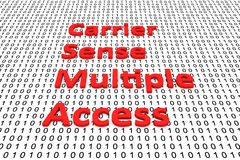 Carrier Sense Multiple Access. In the form of binary code, 3D illustration Royalty Free Stock Images