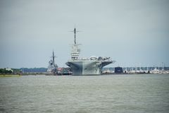 Carrier ship. Aircraft carrier ship in Charleston, South Carolina Stock Images