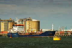 Carrier ship, industry in Spain Royalty Free Stock Photos