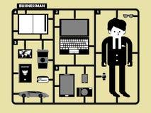 Carriera ed accessori dell'uomo d'affari nella la figura stile royalty illustrazione gratis