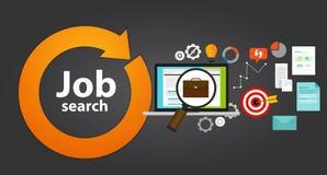 Carriera online di occupazione di web del ciclo della borsa di ricerca di lavoro Fotografia Stock Libera da Diritti