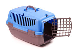 Carriers for cat or dog. Blue with gray plastic Totes pet Stock Images