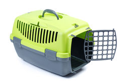 Carriers for cat or dog. Green with gray plastic Totes pet Royalty Free Stock Photos