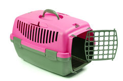 Carriers for cat or dog. Pink with gray plastic Totes pet Royalty Free Stock Images