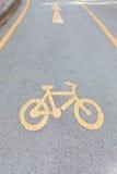 Carril de bicicleta en color amarillo Fotografía de archivo