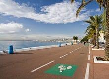 Carril de bicicleta en Niza imagen de archivo