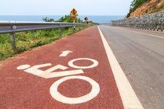 Carril de bicicleta en pendiente escarpada de la colina Imagen de archivo