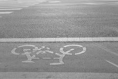 Carril de bicicleta por otra parte del camino Imagen de archivo libre de regalías