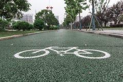 Carril de bicicleta verde para biking imágenes de archivo libres de regalías