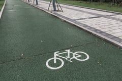 Carril de bicicleta verde para biking imagen de archivo
