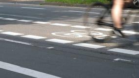 Carril de bicicleta y usuarios de camino almacen de video