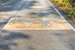 Carril de la bici en la carretera de asfalto Fotos de archivo
