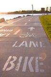 Carril de la bici en la playa Imagen de archivo libre de regalías