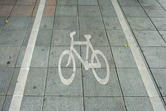 Carril de la bici en una ciudad Imágenes de archivo libres de regalías