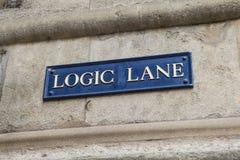 Carril de la lógica en Oxford Foto de archivo libre de regalías