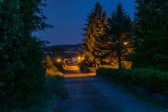 Carril del país en la noche Fotografía de archivo