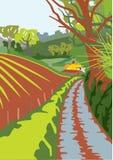 Carril del país en primavera Foto de archivo