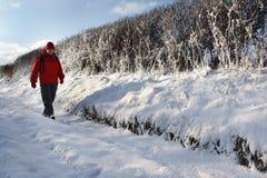 Carril nevado del país - Inglaterra Imagen de archivo