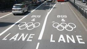 Carril olímpico de la restricción del tráfico de Londres Imágenes de archivo libres de regalías