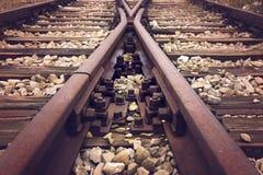 Carriles abandonados del tren Imagen de archivo libre de regalías